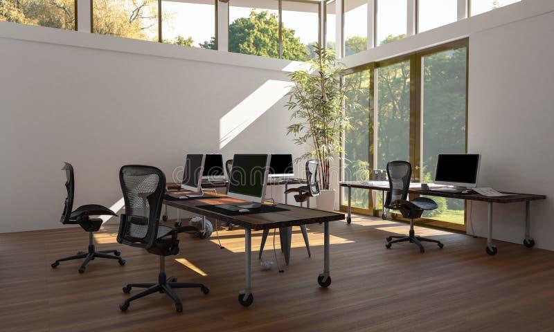 Espace de travail vide de bureau de style d'eco avec des ordinateurs illustration libre de droits