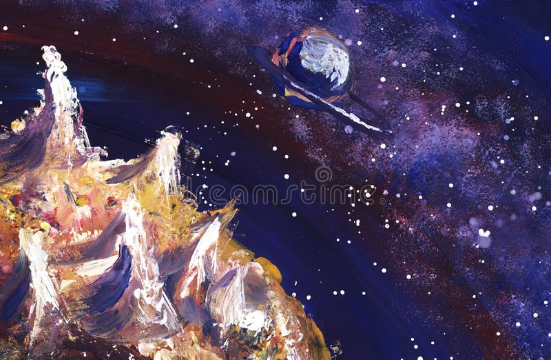 Espace extra-atmosphérique avec la manière laiteuse, les étoiles et les planètes Illustration peinte à la main illustration stock