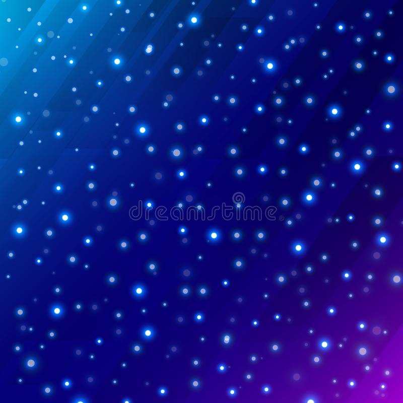 Espace extra-atmosphérique scientifique d'univers abstrait sur le fond bleu-foncé illustration stock