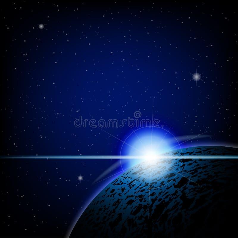 Espace lointain bleu d'éclipse lunaire image libre de droits