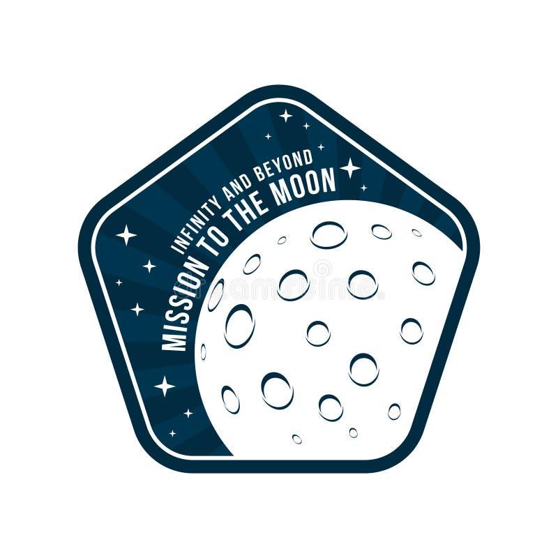 Espace o crachá com textura da lua e da cratera na vista o do espaço Etiqueta do astronauta do vintage ilustração stock