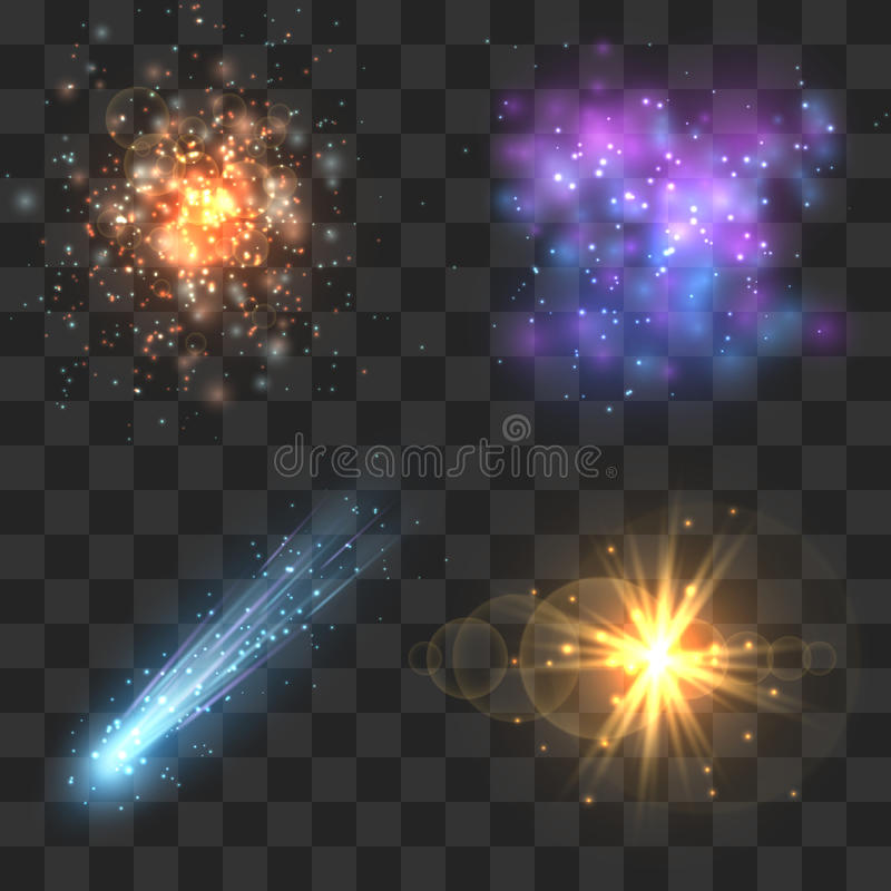 Espace objetos do cosmos, cometa, meteoro, explosão das estrelas no fundo quadriculado da transparência ilustração stock