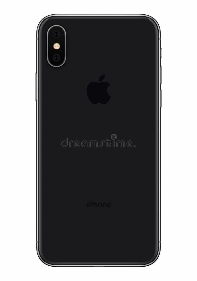 Espacez la vue de face d'arrière de l'iPhone X de Gray Apple d'isolement sur le fond blanc images libres de droits