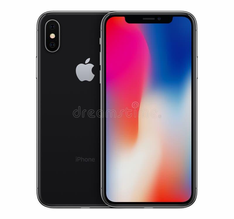 Espacez la vue de face de maquette de l'iPhone X de Gray Apple avec l'écran de papier peint et l'arrière de l'iPhone 10 derrière  photos libres de droits