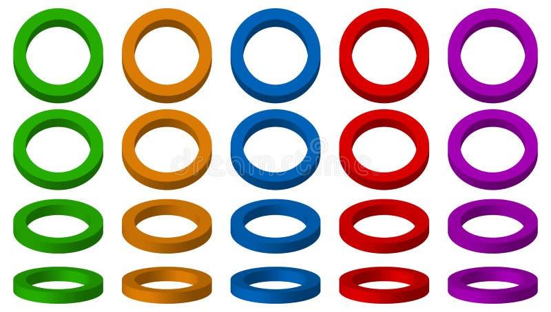 Espacial colorido, 3d circunda com os 4 ângulos e as 5 cores ilustração do vetor