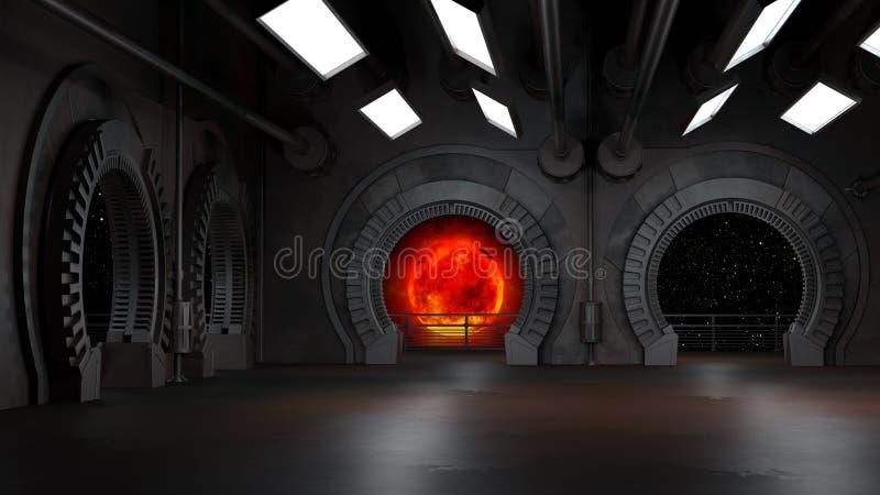 Espacie el ambiente, listo para los comp de sus caracteres renderin 3D stock de ilustración