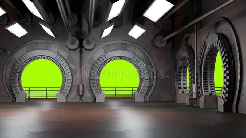 Espacie el ambiente, listo para los comp de sus caracteres renderin 3D ilustración del vector