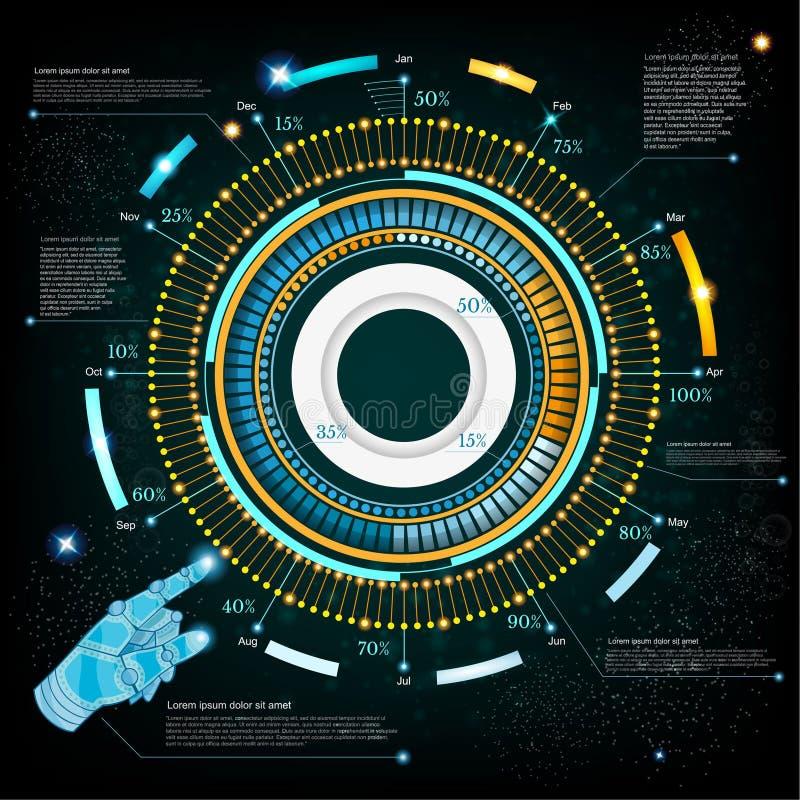 Espacie el fondo o el interfaz futurista de la alta tecnología con el handpointer de la mano del robot stock de ilustración