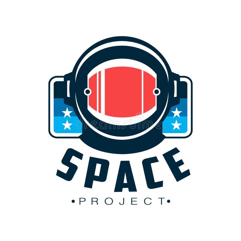 Espacie el logotipo con el casco protector del ` s del astronauta Emblema cósmico del viaje con la inscripción Diseño plano del v ilustración del vector