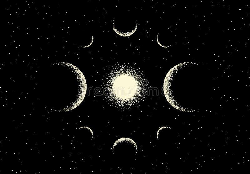 Espacie el paisaje con la opini?n esc?nica sobre el planeta y las estrellas hechos con estilo retro del dotwork ilustración del vector
