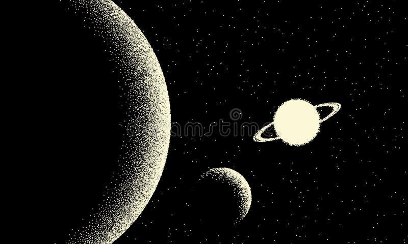 Espacie el paisaje con la opini?n esc?nica sobre el planeta y las estrellas hechos con estilo retro del dotwork libre illustration