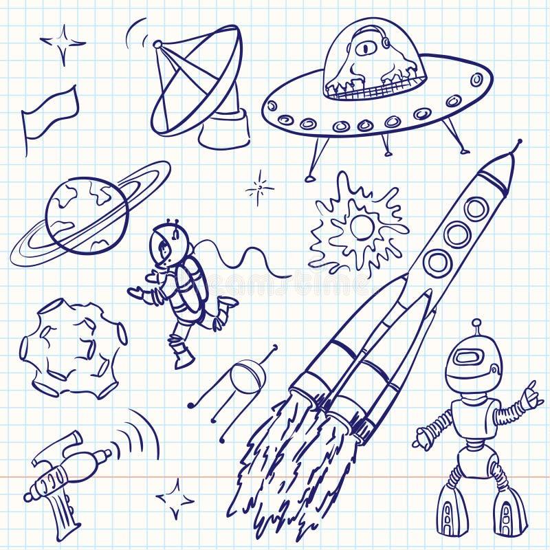Espacie los doodles libre illustration