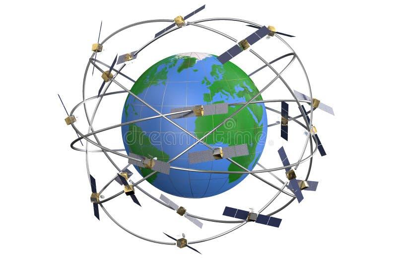 Espacie los satélites en órbitas excéntricas alrededor de la tierra stock de ilustración