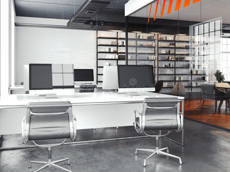Espacio abierto con las paredes brillantes, de la oficina moderna representación 3d stock de ilustración