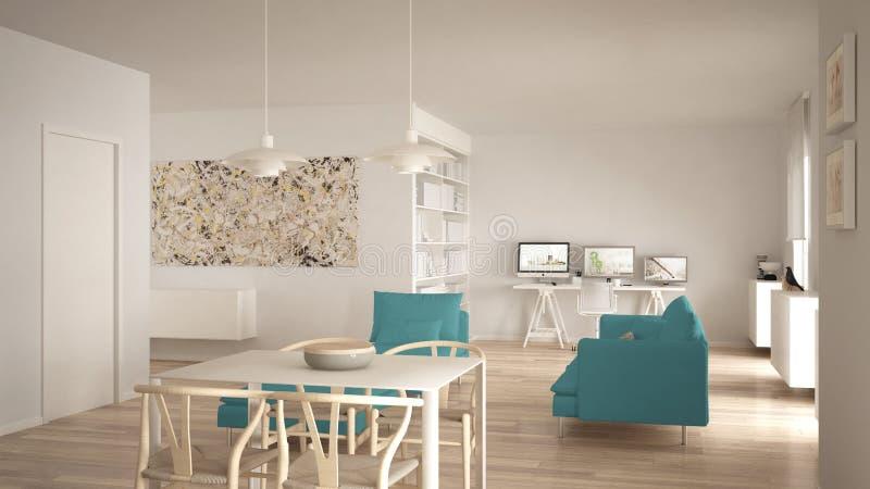 Espacio abierto de la sala de estar minimalista nórdica con la mesa de comedor, sofá, oficina de la esquina, lugar de trabajo cas libre illustration
