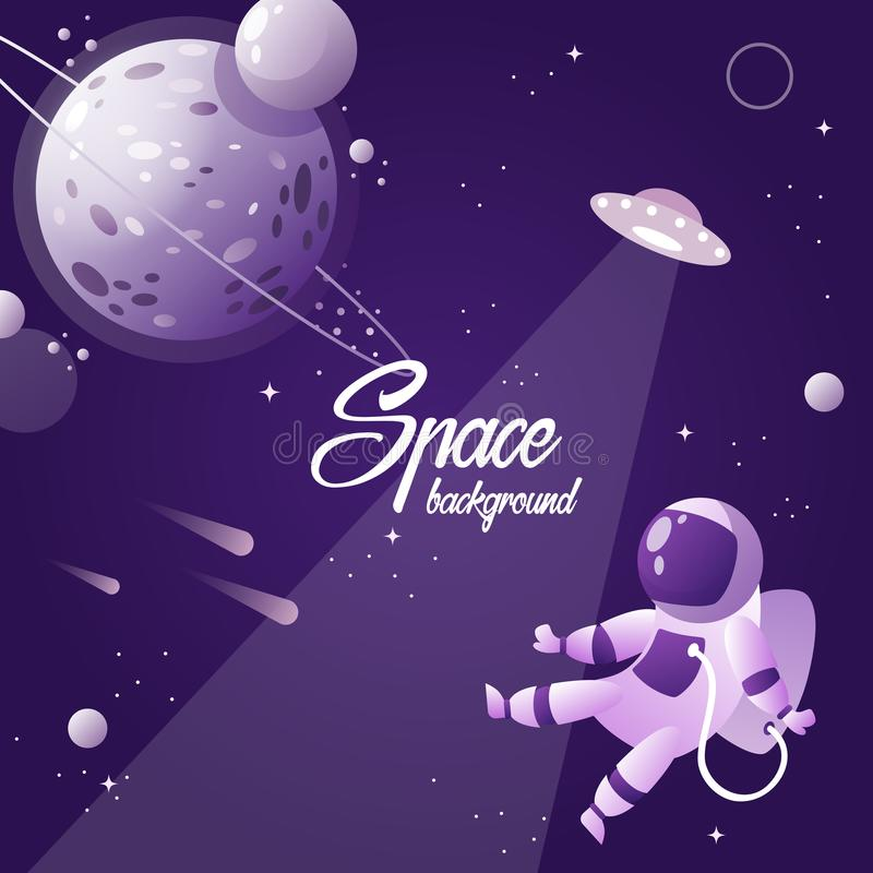 Espacio abierto planeta cosmonaut Ilustración del vector libre illustration