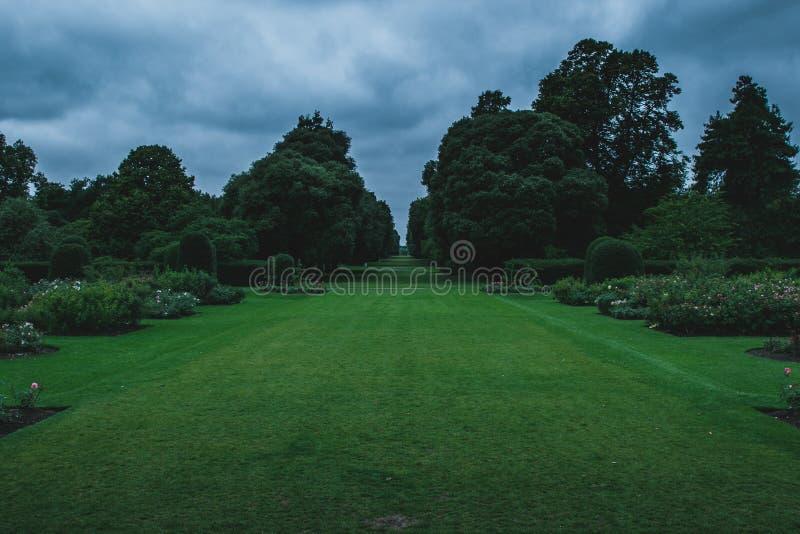 Espacio abierto sin fin de céspedes en los jardines de Kew foto de archivo libre de regalías