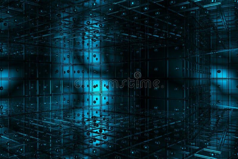 Espacio azul cúbico ilustración del vector
