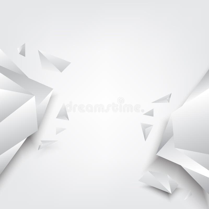 Espacio blanco y gris del polígono abstracto del tono del vector del fondo para el texto o mensaje para su diseño ilustración del vector