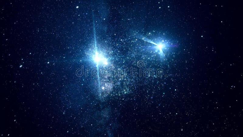 Espacio cósmico abstracto con las estrellas brillantes animación Mudanza entre las estrellas chispeantes brillantes en espacio ex libre illustration