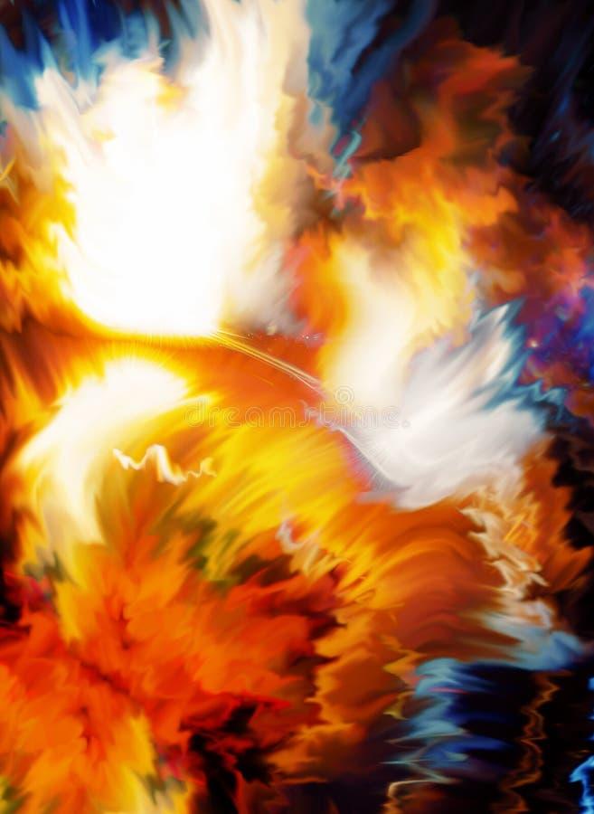 Espacio cósmico del color, fondo multicolor Efecto de la pintura stock de ilustración