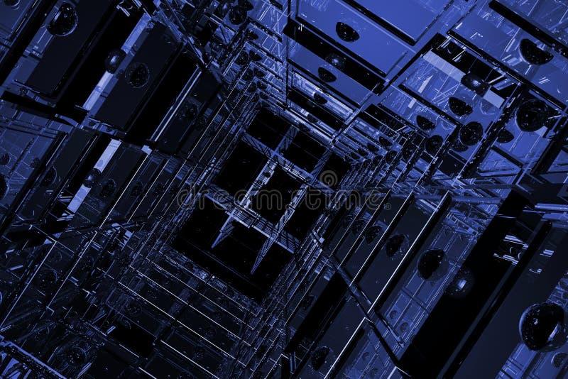 Espacio cúbico azul ilustración del vector