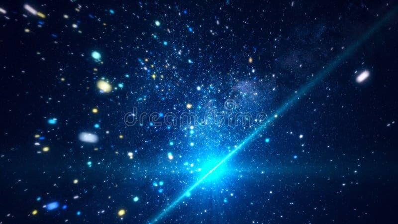 Espacio c?smico abstracto con las estrellas brillantes animaci?n Mudanza entre las estrellas chispeantes brillantes en espacio ex libre illustration