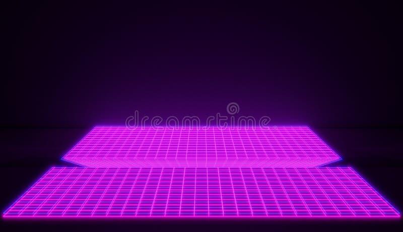 Espacio cibernético rosado que brilla intensamente del neón en fondo retro del estilo Versión rosada brillante ilustración del vector