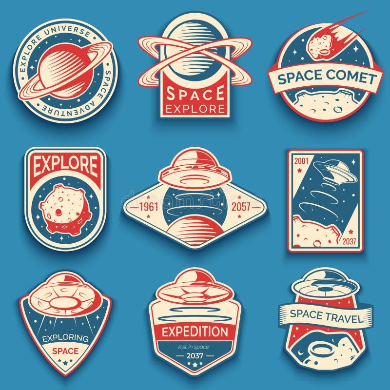 Espacio colorido, etiquetas del UFO y del planeta, logotipos, insignias, emblemas Explore la misión en espacio ilustración del vector