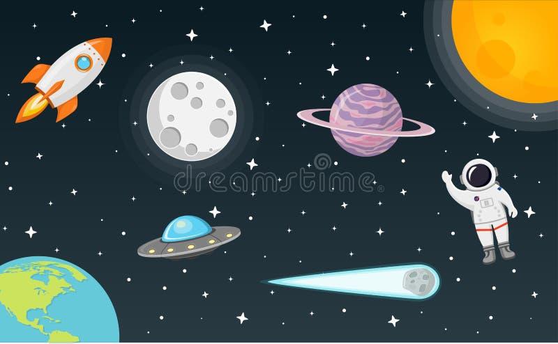 Espacio con diseño plano de la luna, del sol, del cohete, del astronauta, del planeta, del UFO y del cometa imagenes de archivo