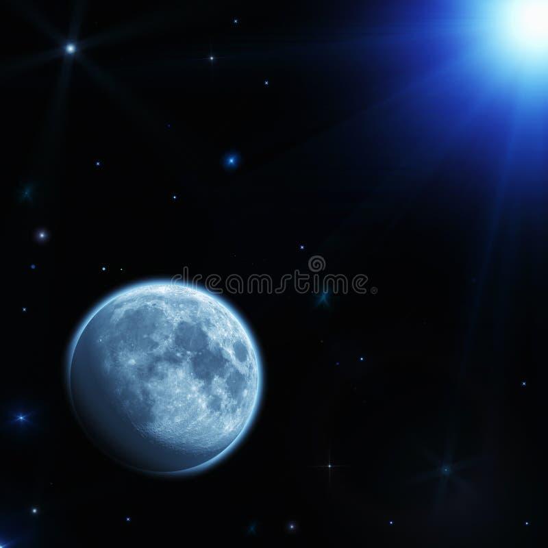 Espacio con el planeta, la luna y las estrellas stock de ilustración