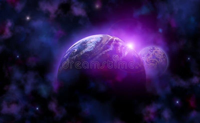 Espacio con un planeta, una luna y estrellas stock de ilustración