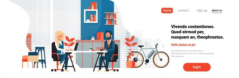Espacio coworking moderno del escritorio de oficina de la mujer del hombre de negocios que se sienta que trabaja junto la histori libre illustration