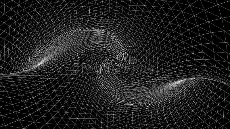 Espacio curvado geométrico del extracto de las líneas blancas animación Espacio torcido con texturas tridimensionales del monocro ilustración del vector