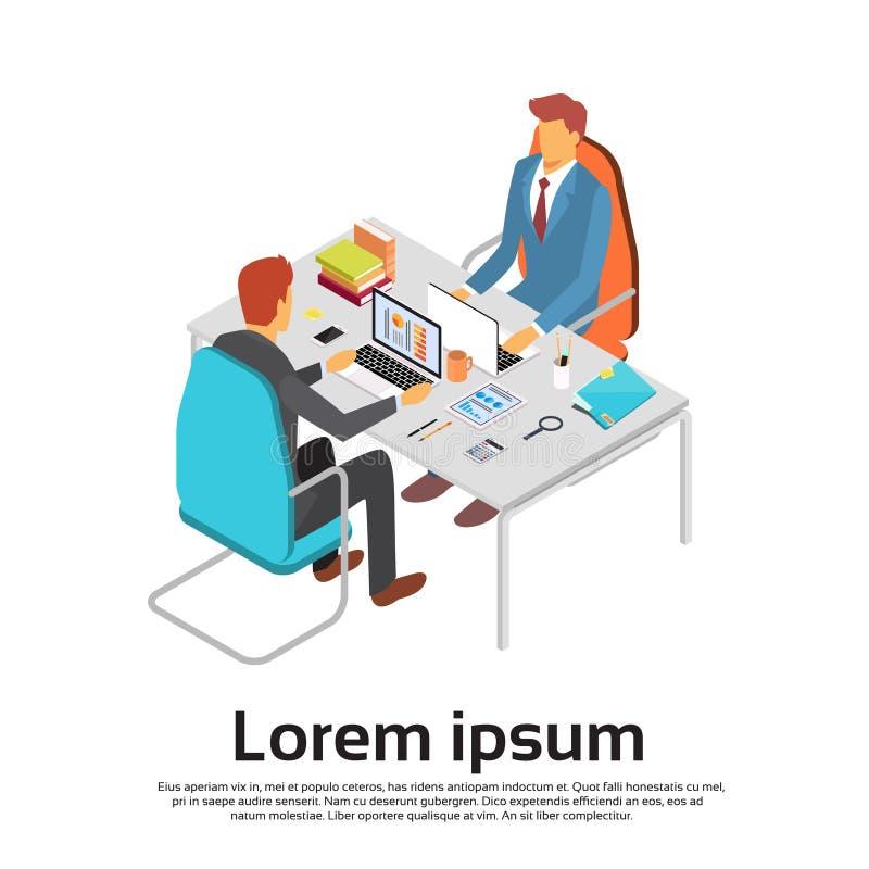 Espacio 3d de la copia del espacio de trabajo del escritorio del ordenador portátil del trabajo del hombre de negocios dos isomét libre illustration