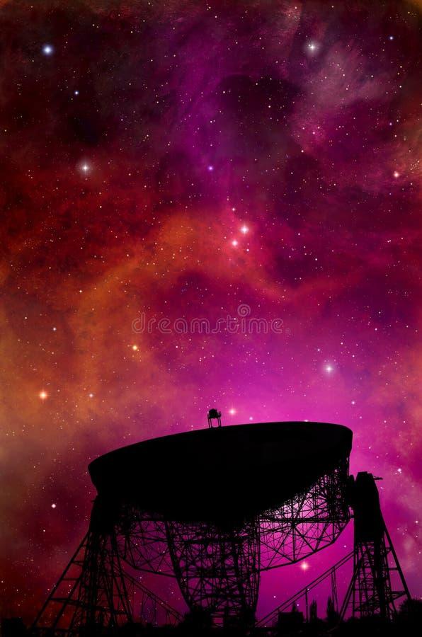 Espacio de búsqueda del telescopio de radio ilustración del vector