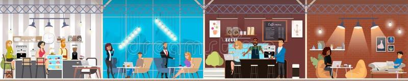 Espacio de Coworking con los trabajadores del concepto del vector libre illustration