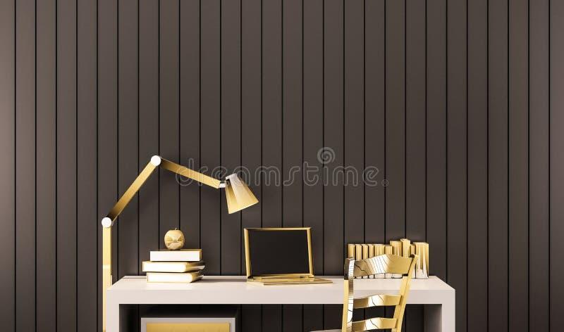 Espacio de funcionamiento, objetos de oro de lujo en el escritorio de trabajo con la pared de aluminio negra, 3d rendido libre illustration