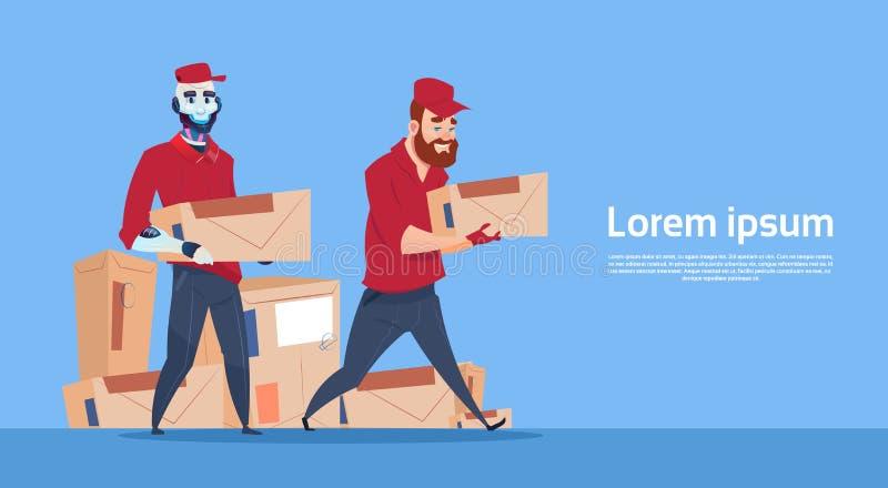 Espacio de la copia de la bandera del servicio de Robot Carry Box Delivery Package Post del mensajero stock de ilustración