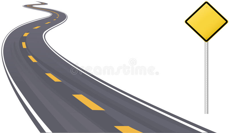 Espacio de la copia de la información de la señal de tráfico en la carretera libre illustration