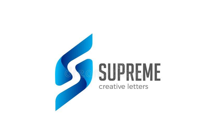 Espacio de la negativa del vector del logotipo de la letra S Emb corporativo ilustración del vector
