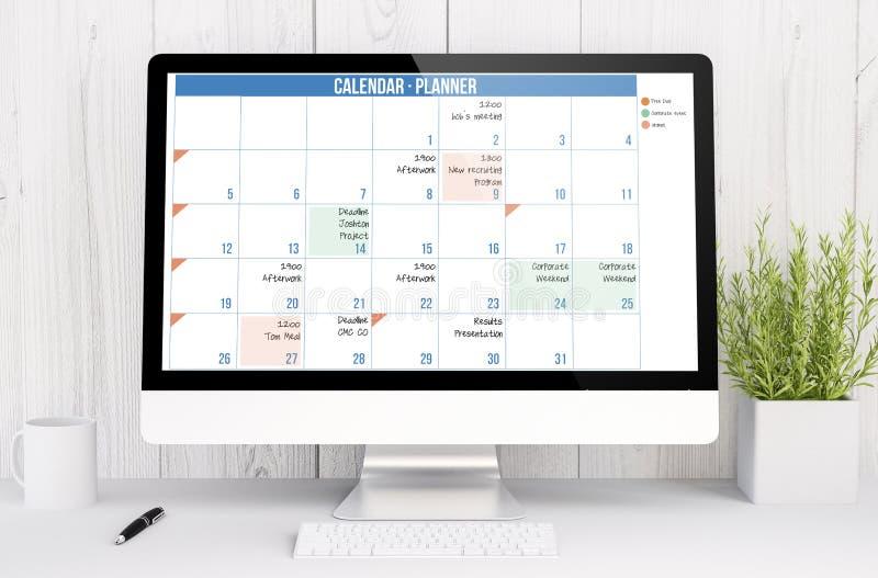 espacio de trabajo blanco con el planificador del calendario del ordenador imágenes de archivo libres de regalías