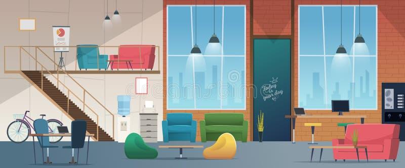 Espacio de trabajo de Coworking Trabajadores modernos de la oficina de los freelancers en historieta corporativa del vector del c stock de ilustración