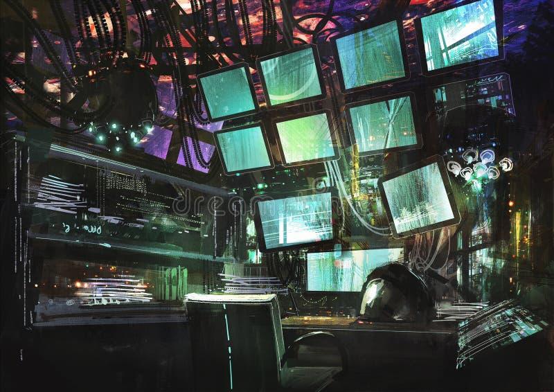 Espacio de trabajo creativo de la ciencia ficción ilustración del vector