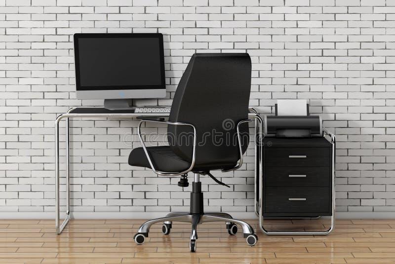 Espacio de trabajo creativo moderno El ordenador está en la tabla de la oficina con Blac libre illustration