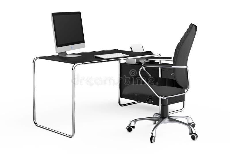 Espacio de trabajo creativo moderno El ordenador está en la tabla de la oficina con Blac ilustración del vector