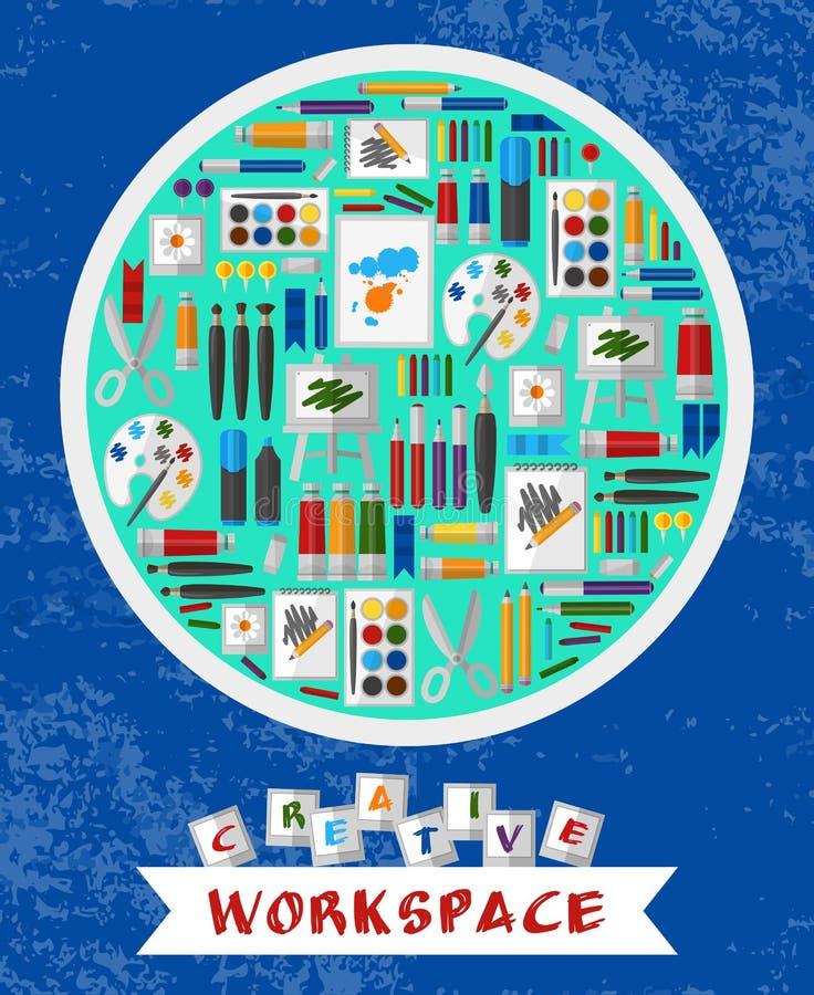 Espacio de trabajo creativo y artístico ilustración del vector