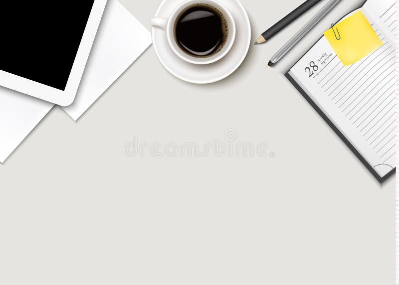 Espacio de trabajo de la oficina - café, tableta, papel y algunas plumas ilustración del vector