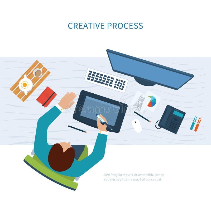 Espacio de trabajo de la oficina del diseñador con las herramientas y los dispositivos stock de ilustración