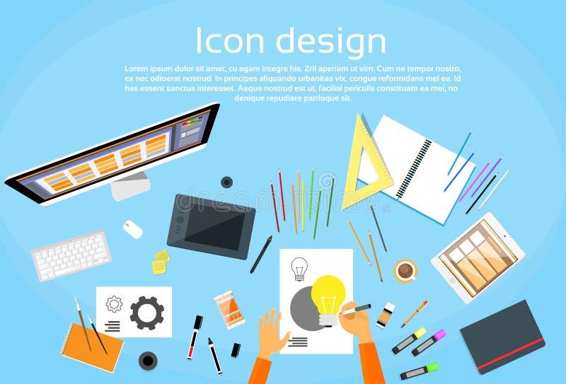 Espacio de trabajo de Logo Icon Designer Drawing Desk ilustración del vector